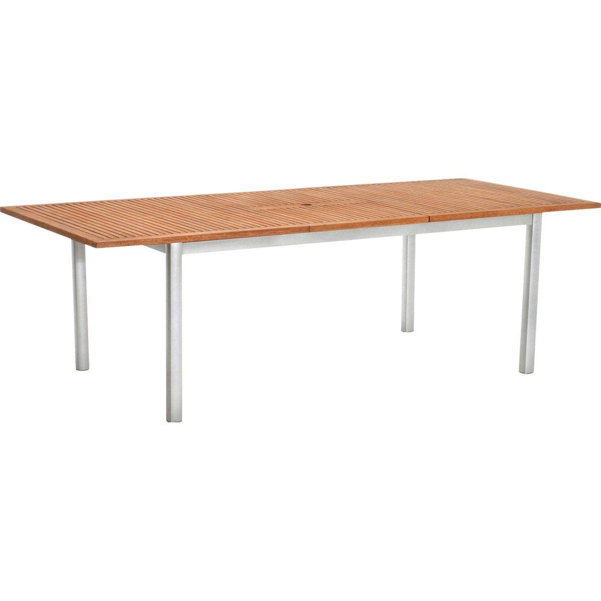 OBI Holz-Gartentisch Harris 180/240 cm x 100 cm Ausziehbar Silber ...
