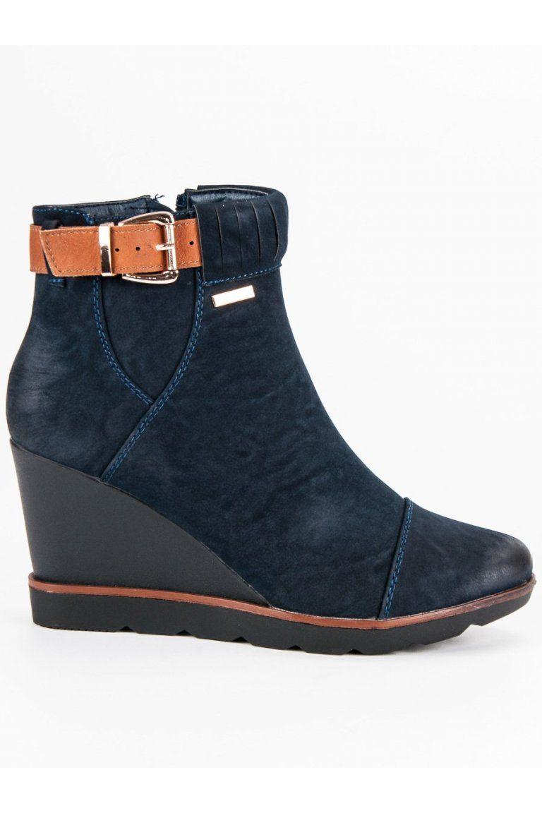 5ab2def3f59a Tmavo modré topánky na klinovom opätku Filippo