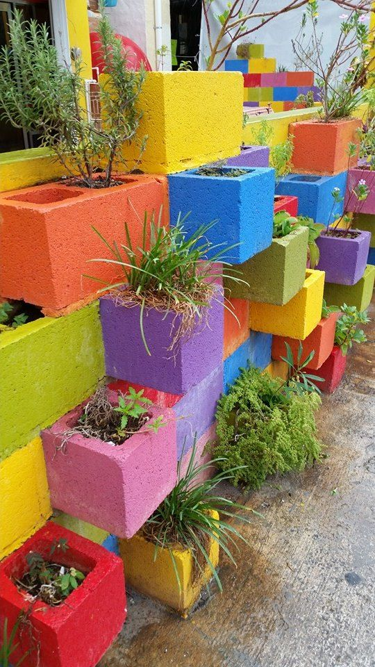 colorful cement blocks backyard