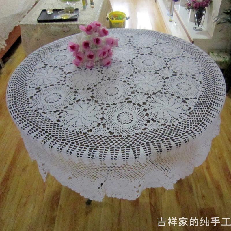 Handmade White Crochet Round Tablecloth180cm Cotton Doilies