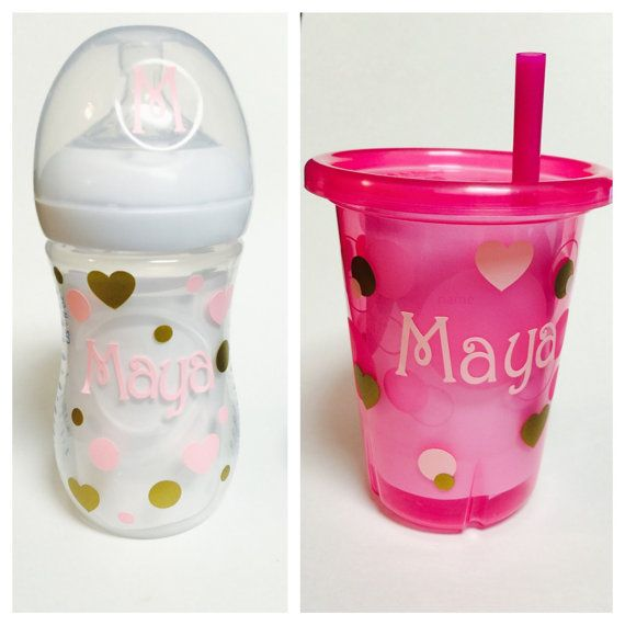 Hearts personalized baby bottle viny l snack cup decal sippy cup decal