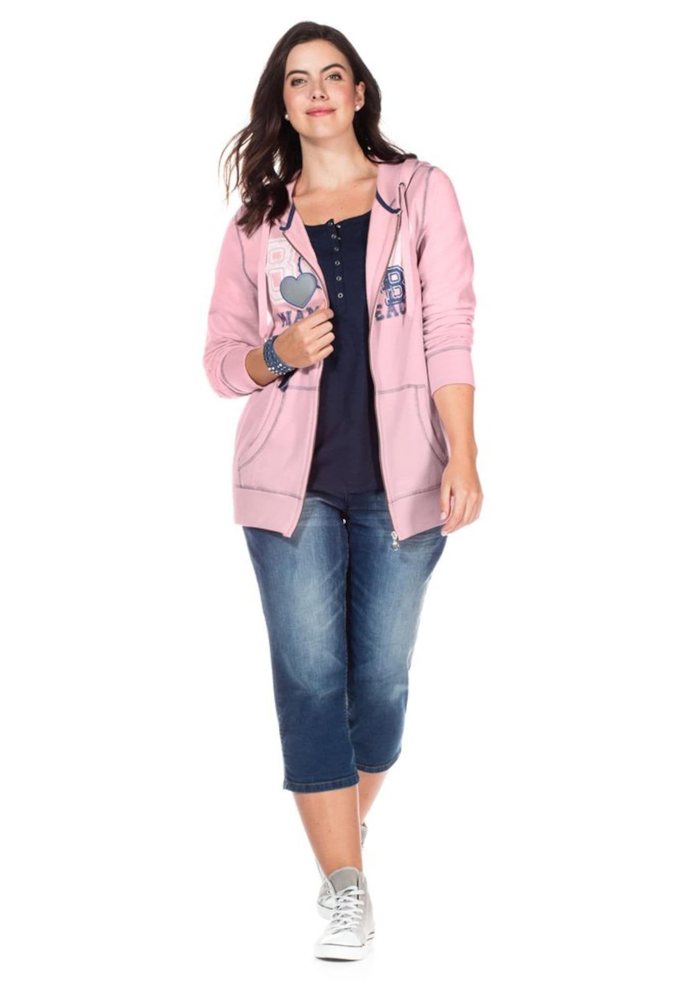 Sheego Sweatjacke Damen Blau Altrosa Weiss Grosse Xxl Xxxl Mit Bildern Sweatjacke Damen Sweatjacke 80er Outfit