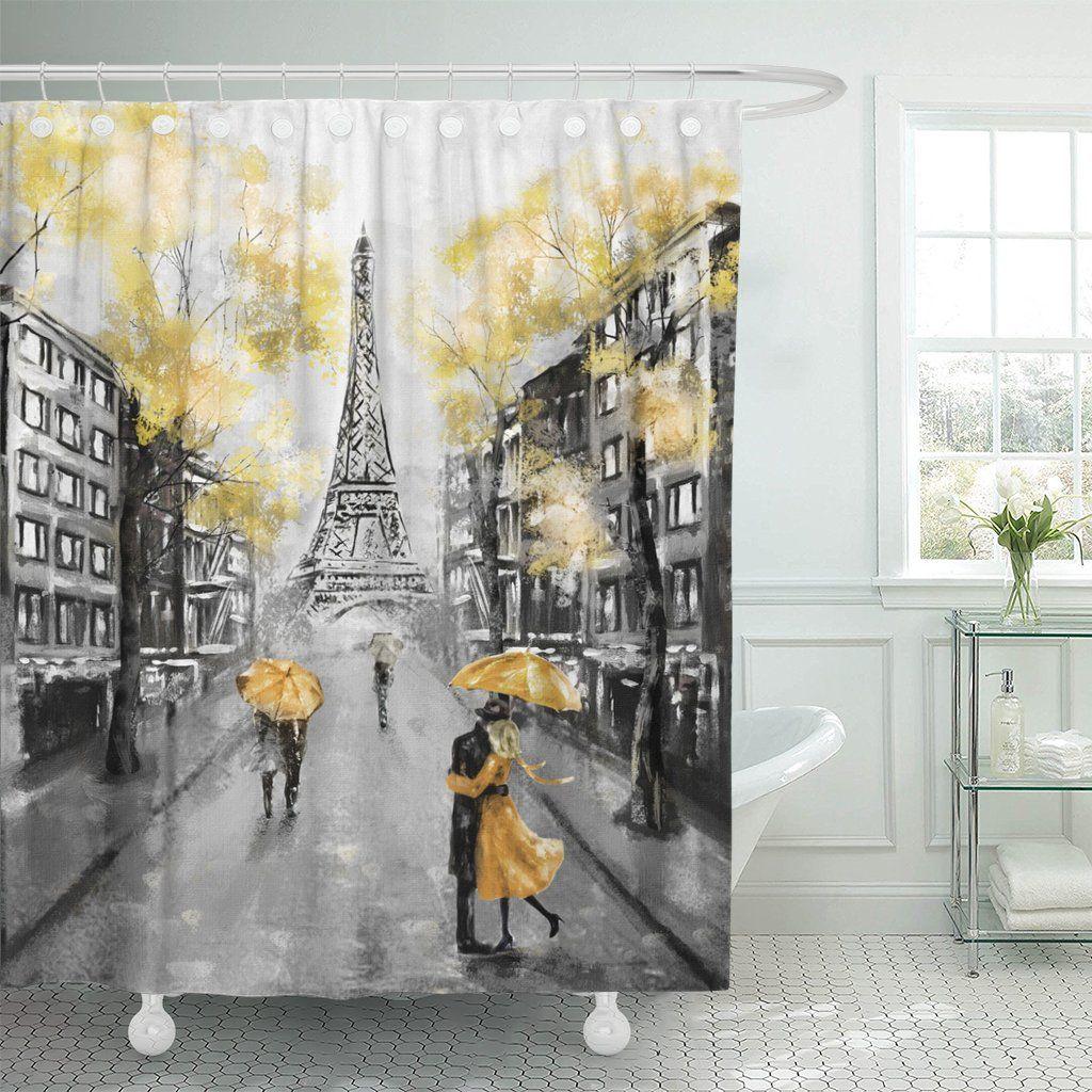 Emvency Shower Curtain Oil Painting Paris Designer Shower