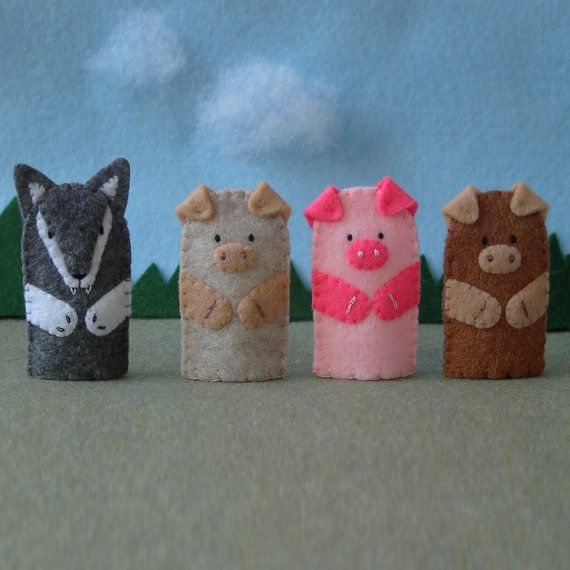 Three Little Pigs and the Big Bad Wolf Puppet Set - 3 Pigs Puppet ...