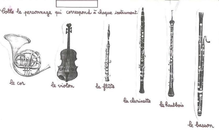 Pierre et le loup coller les persos c t instrument ecole musique pinterest pierre et - Coloriage pierre et le loup ...