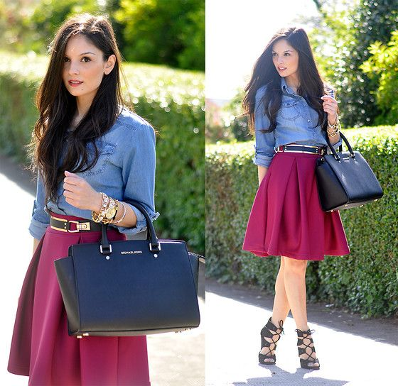 Alba . - Chic Wish Skirt, Sheinside Shirt - ...Denim & Burgundy ...