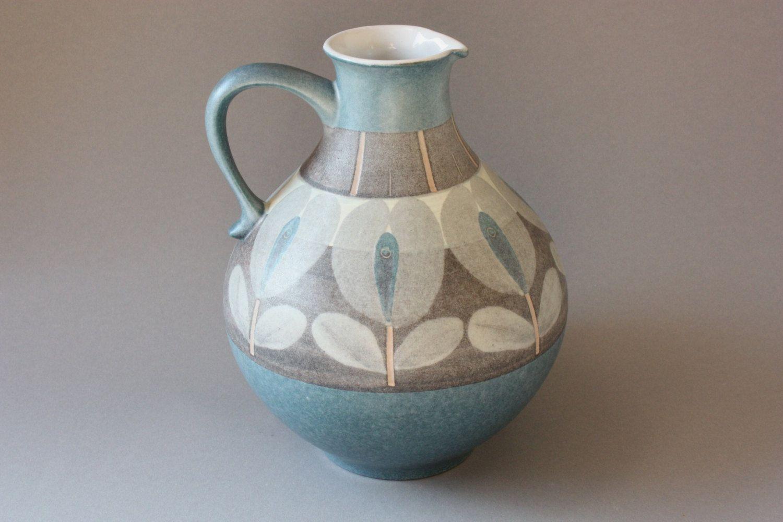 70s 80s Vase Ceramic West German Pottery Vintage Jug Jar Pitcher Home Decor Bulbous Handle Gift Wife Girlfriend Sister Grey Blue Cream Keramikvasen Keramik Vase Vintage Vasen