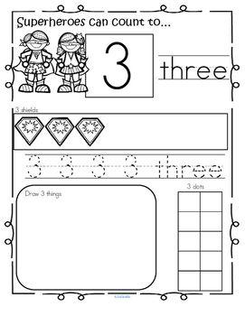 SUPERHEROES Numbers 120 NO PREP Pre k worksheets