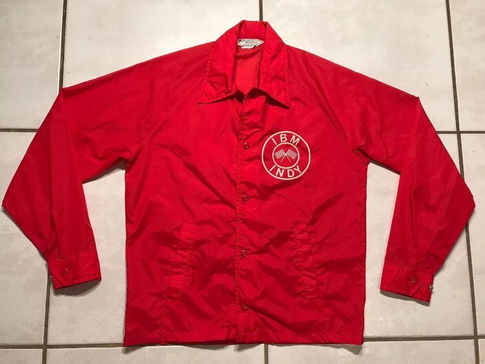 1c87cbf0 Rare Vintage KMART INDY IBM RED Windbreaker Jacket Men's Small ...