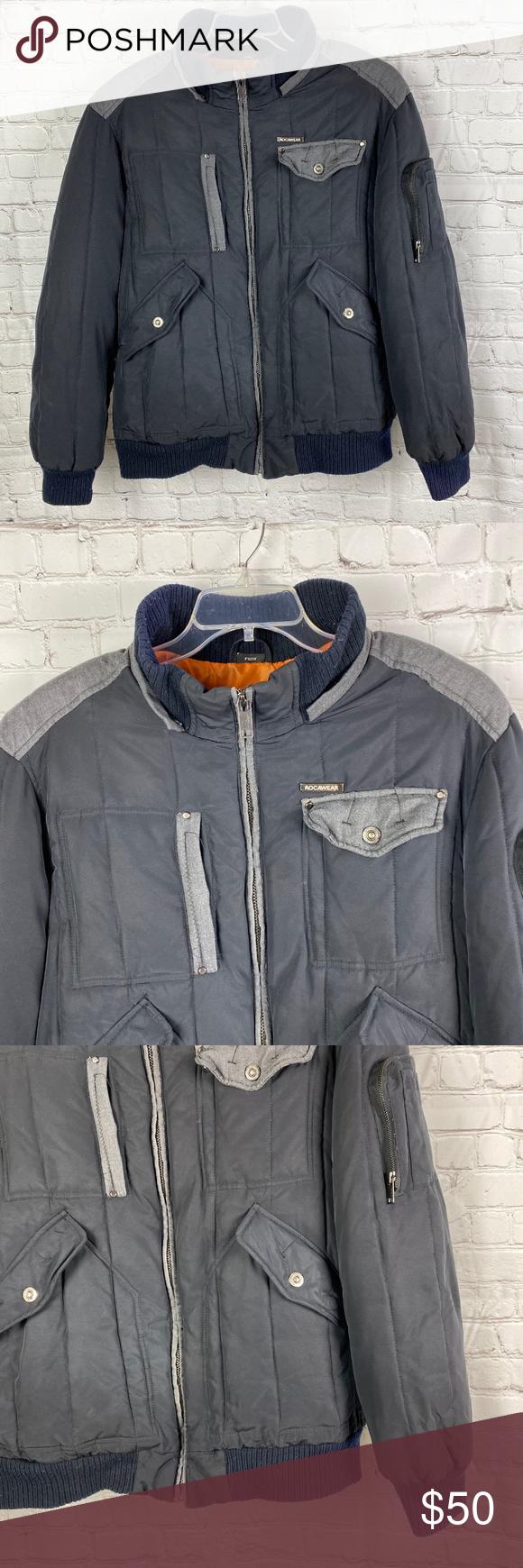Rocawear Black Gray Bubble Winter Jacket Winter Jackets Warm Winter Jackets Jackets [ 1740 x 580 Pixel ]