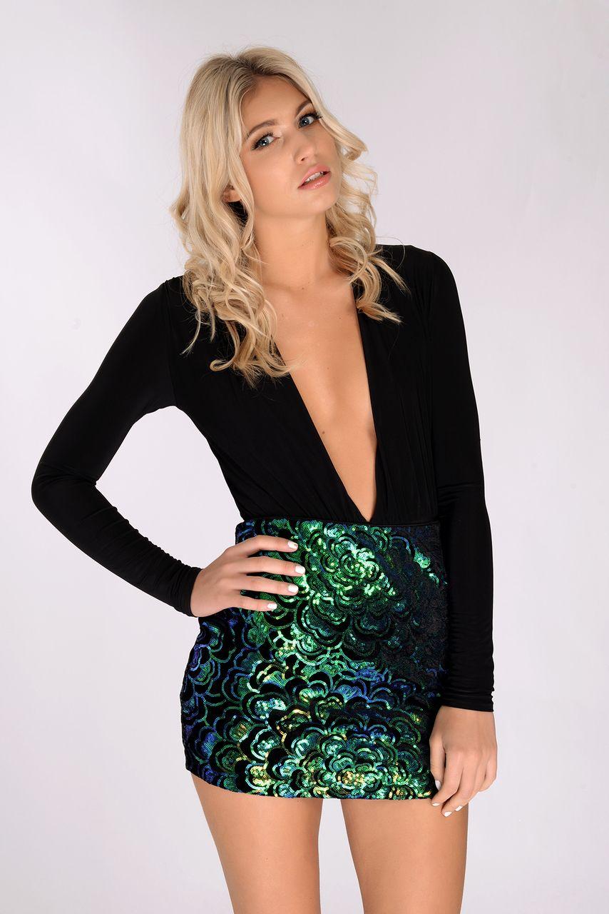 18ca148d57f Sabina Blue   Green Sequin Velvet Mini Skirt More
