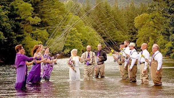 Alaskan Fishing Couple Have Wet Wedding Knee Deep In River