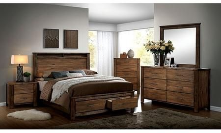 Furniture of America Elkton Collection CM7072QBDMCN 5-Piece Bedroom Set with Queen Storage Bed, Dresser, Mirror, Chest and Nightstand in Oak Finish