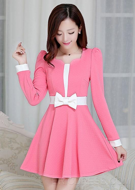 Korean Style New Fashion Bowknot Design Casual Dresses 4 | vestidos ...
