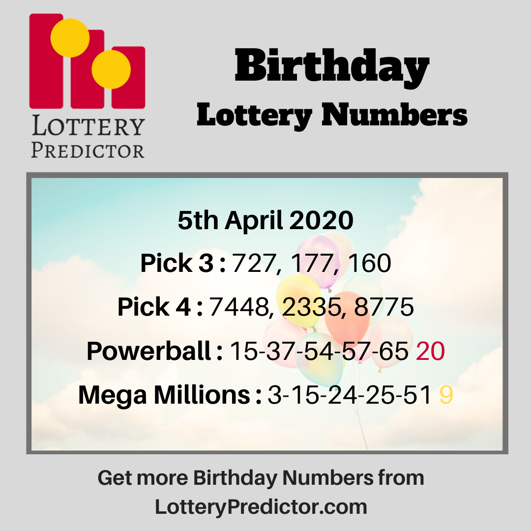 Birthday lottery numbers for Sunday, 5th April, 2020