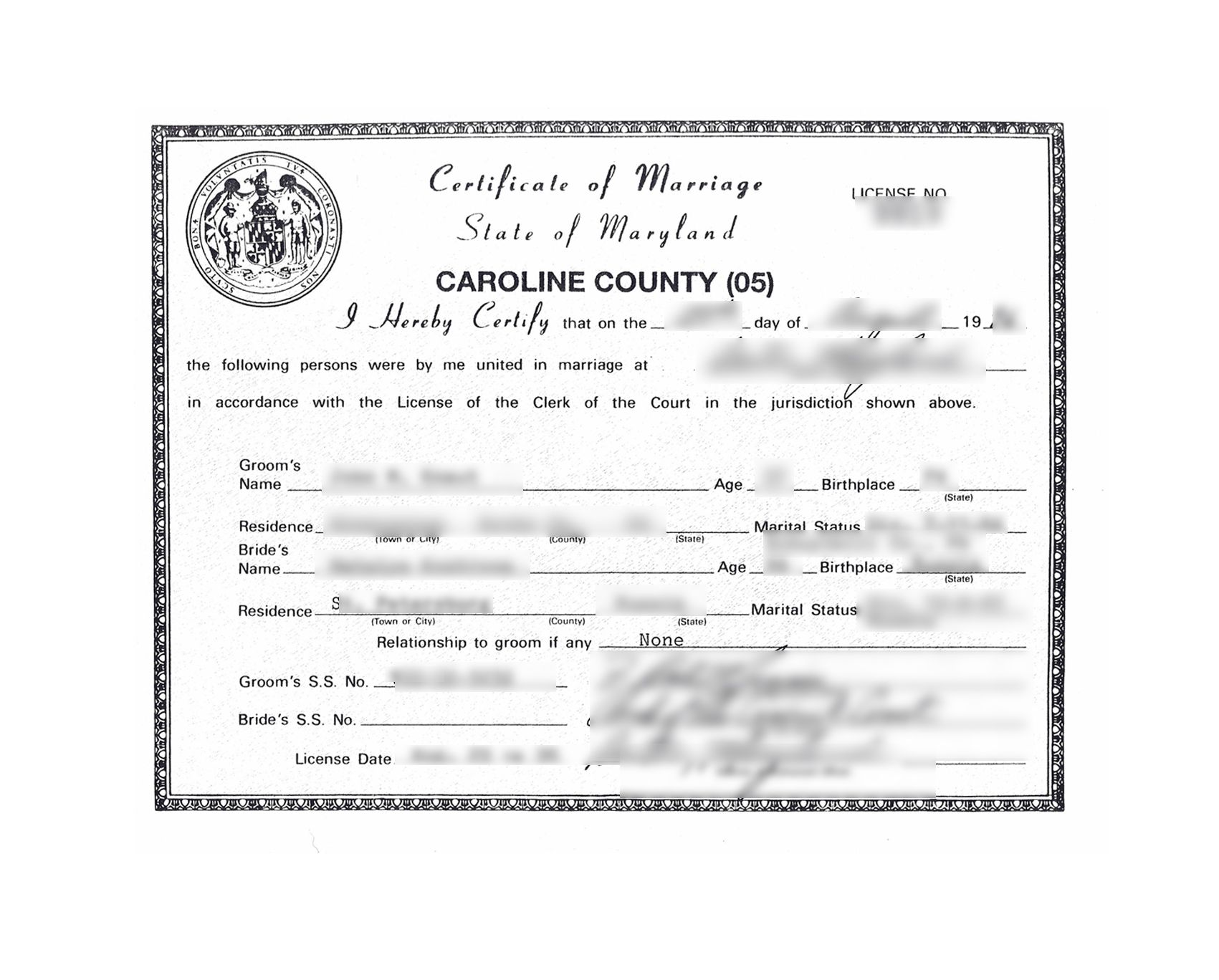 Caroline County State Of Maryland Certificate Of Marriage Non