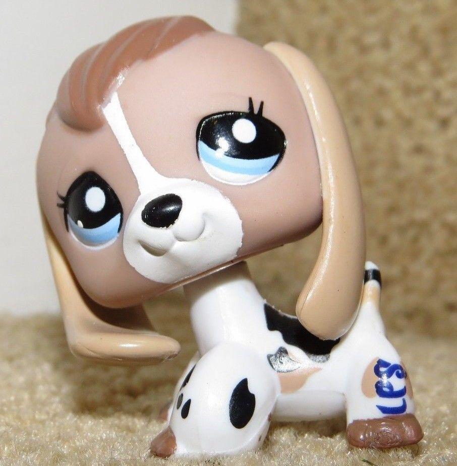 Littlest Pet Shop Lps Rare Tan Black And White Cow Beagle
