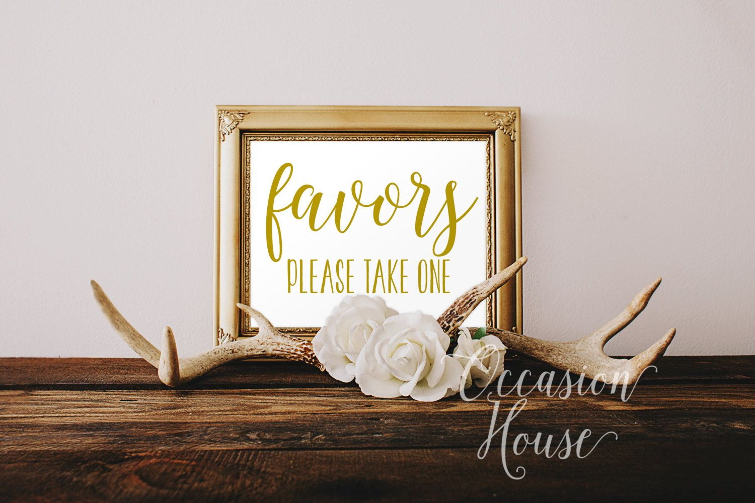 Printable Favors, Please Take One, 5x7, Wedding Favor sign, Gold ...