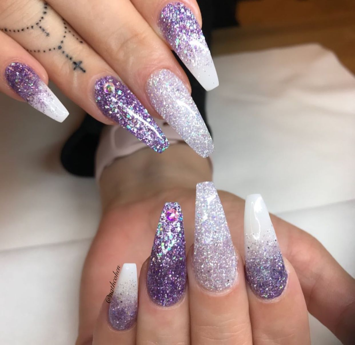 Purple White Nails | Glitter Nail Design | Coffin Acrylic Nails  #acrylicnails Pin: @amerishabeauty - Purple White Nails Glitter Nail Design Coffin Acrylic Nails