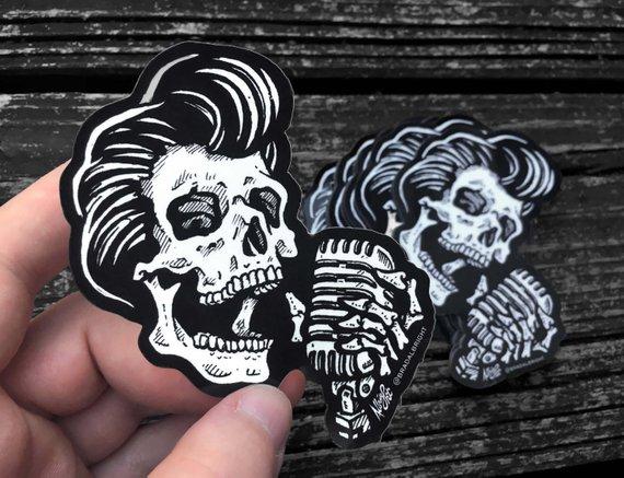 9ec6d4dfefa98 Greaser Rockabilly Skull Sticker Decal - Skull Singer with Vintage ...