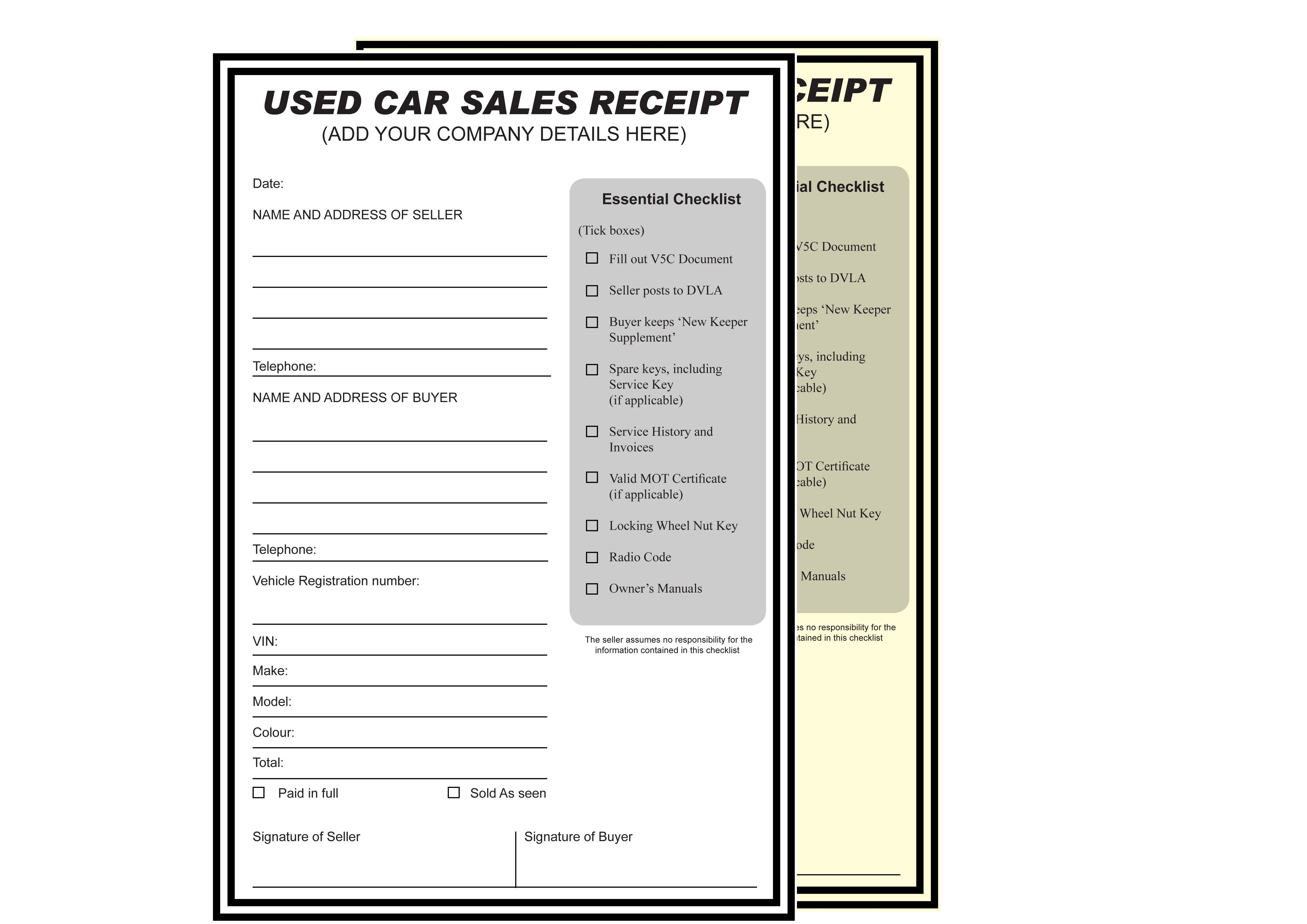 Used Car Sales Receipt NCR Pads / Books. Please visit : http ...