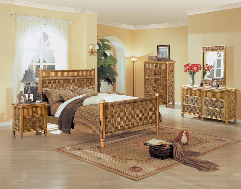 B635 Tahiti All Natural Wicker And Rattan Bedroom Set From