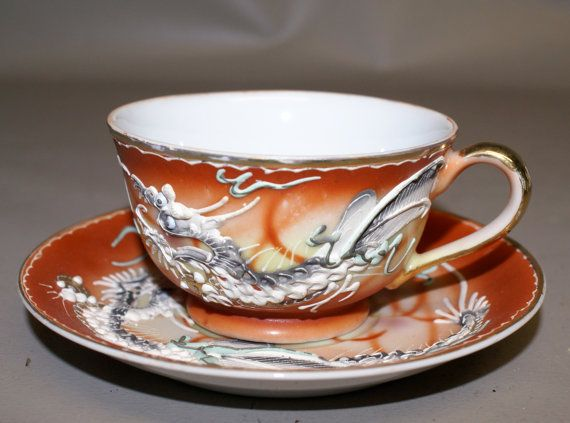Moriage Dragonware Teacup and Saucer Set by BayViewBoutique
