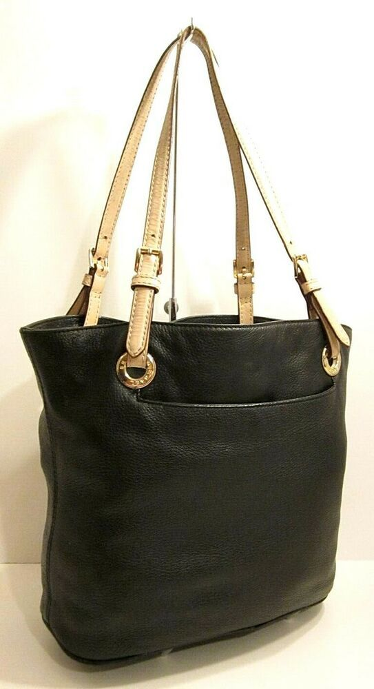 Michael Kors Black Tan Genuine Leather Tote Shopper Shoulder