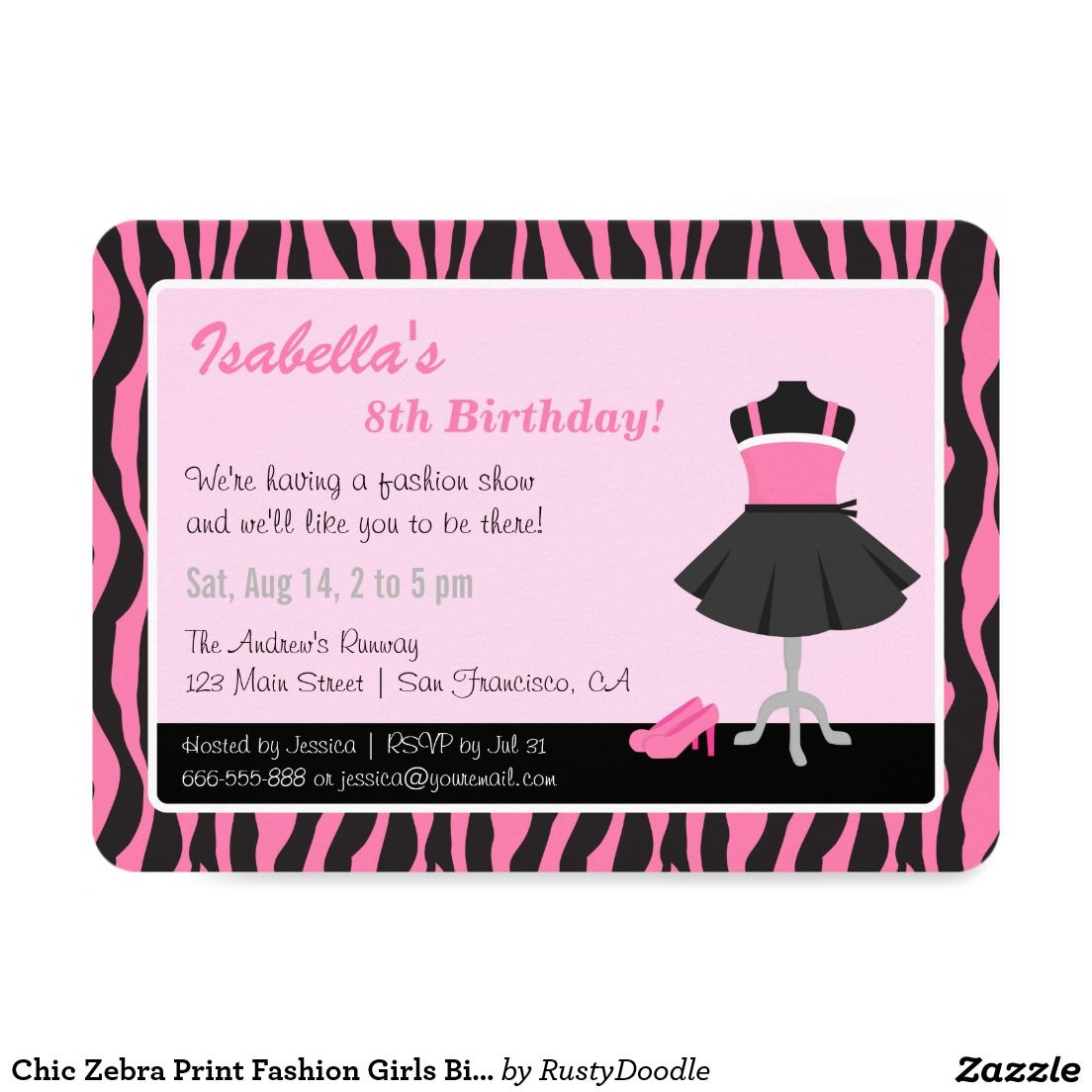 Chic Zebra Print Fashion Girls Birthday Party Card | Girl birthday ...