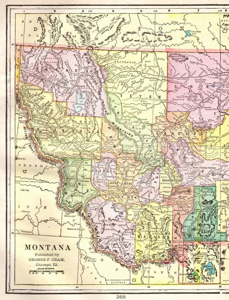 1901 Antique MONTANA Map Vintage Montana State Map Gallery Wall Art ...