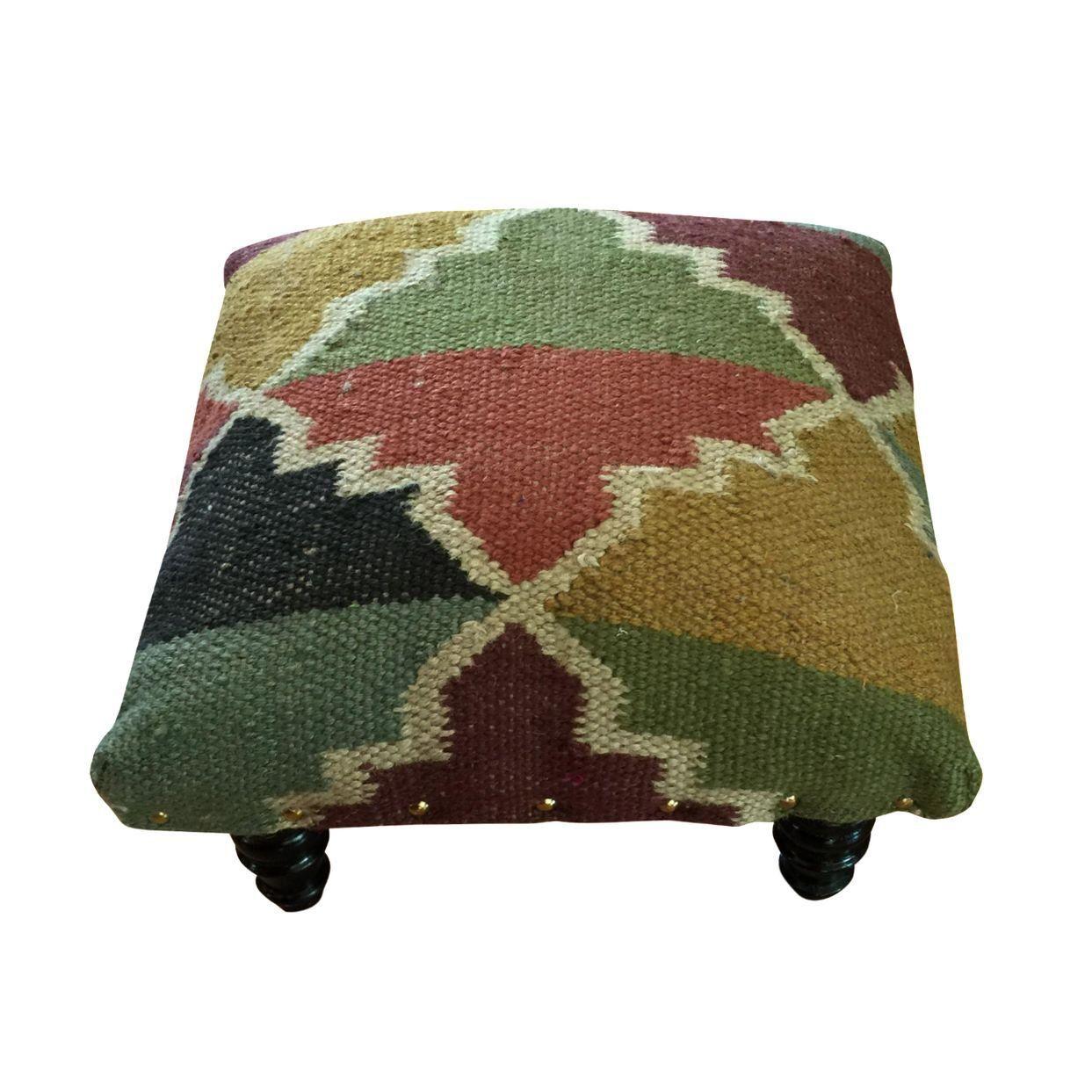 Kilim Rug Footstool on Chairish.com