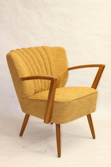 fauteuil cocktail vintage des annes 50 avec accoudoirs entirement refait - Fauteuil Cocktail Vintage