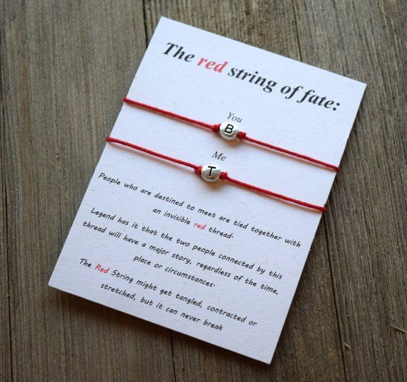 Red string of fate personalized bracelet couples bracelet red string couples personalized bracelet Initials bracelet