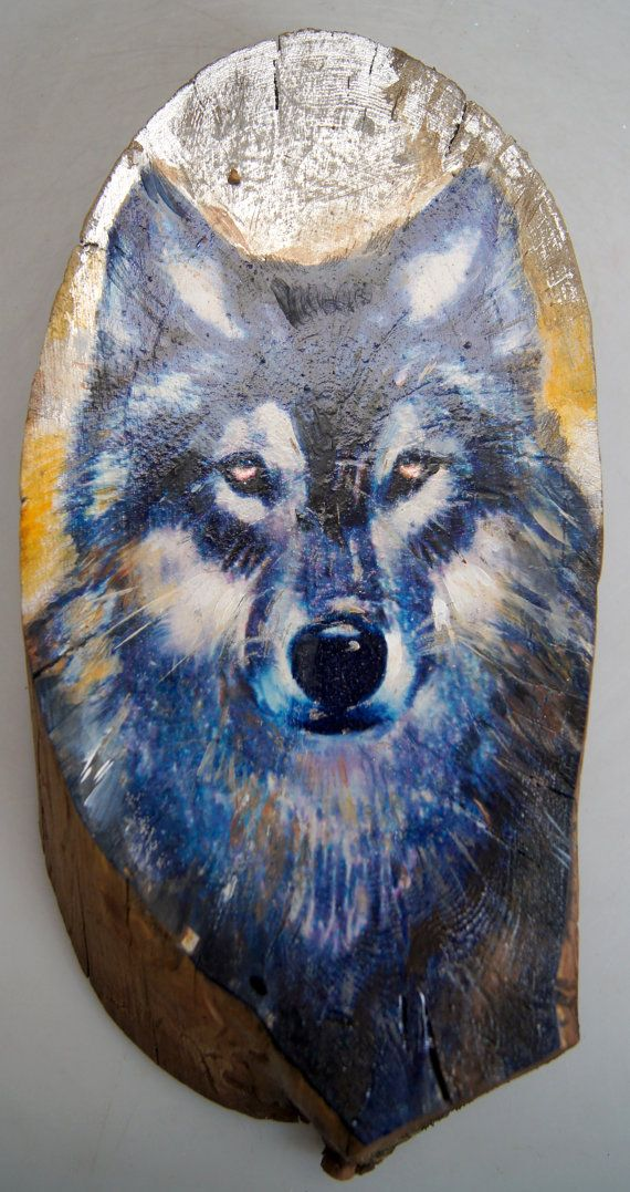 """Wolf Face """"Wooded Art"""" Painting on Vintage Gold or Silver Plated Reclaimed Wood (8821-110) by gdebrekhtgallery. Explore more products on http://gdebrekhtgallery.etsy.com"""