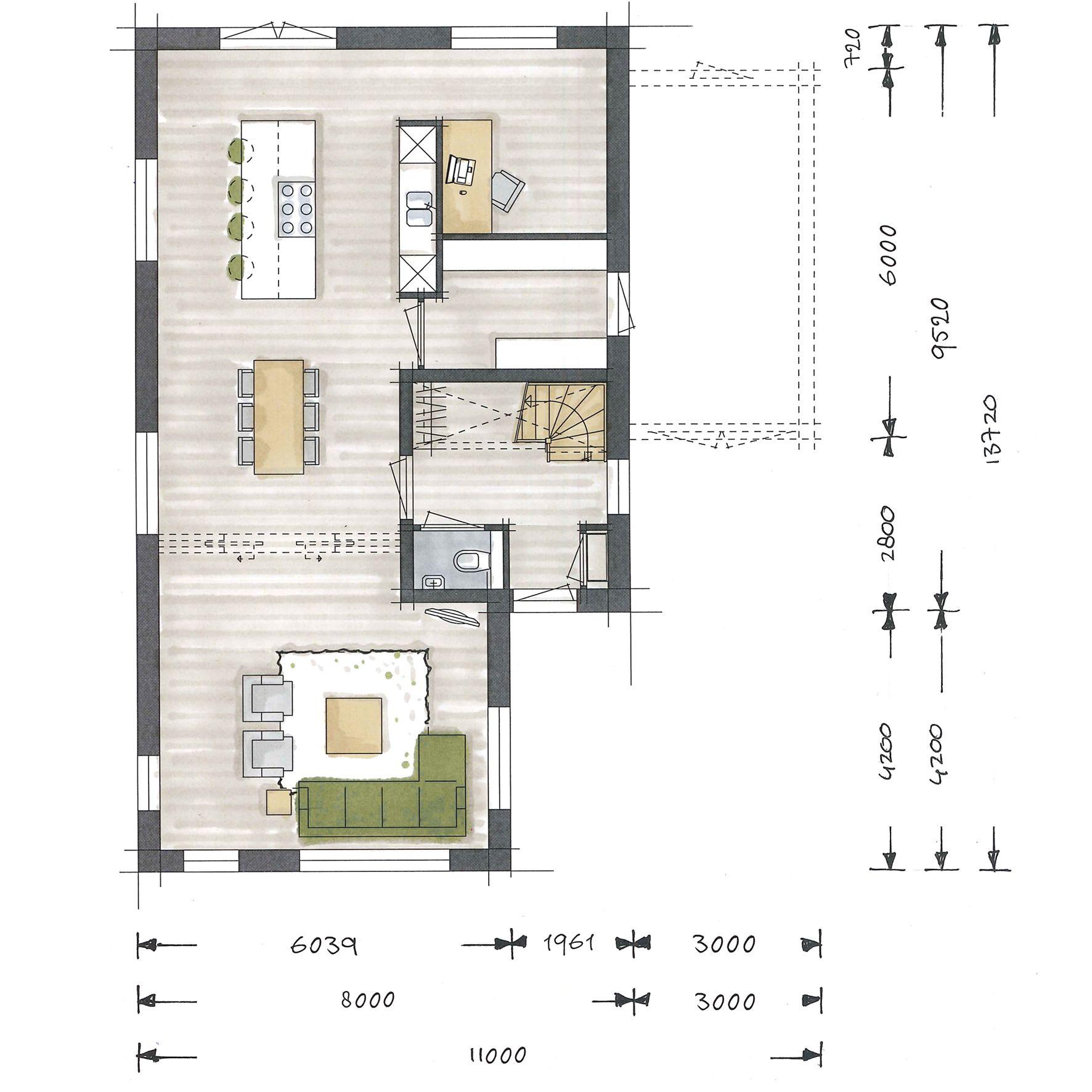 Villa bouwen aurelia plattegrond begane grond huizen for Plattegrond woning indeling