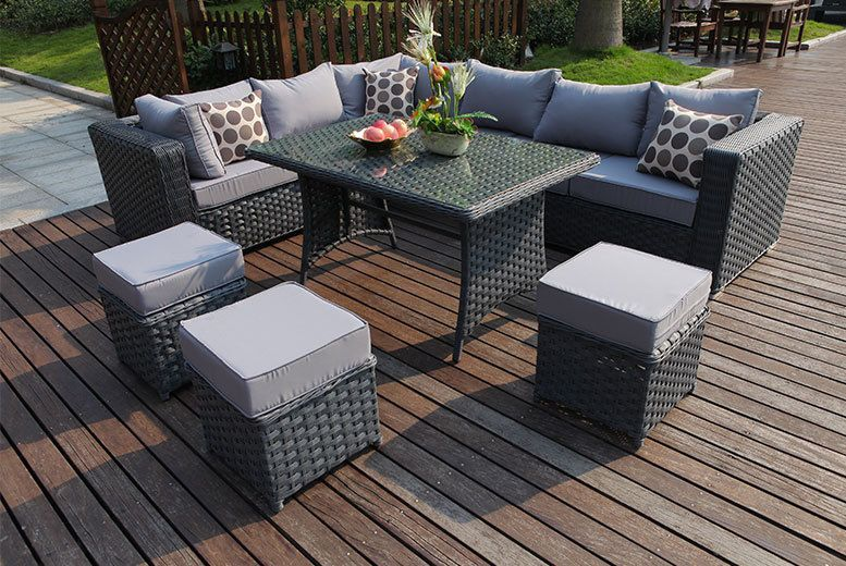 Machinewashable Preassembled Superstylish Anineseater Gatherings Furniture Easyclean Cushions Lshaped Corner Easily Making L Hautpflege In 2019 Rattan Garden Furniture Sets Garden Furniture Garden Furniture Sets