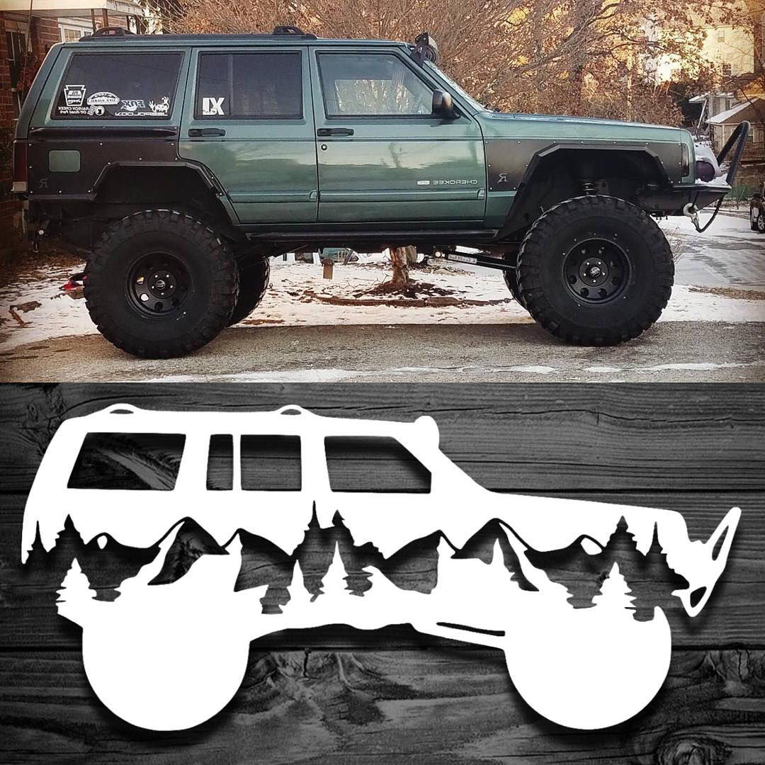 We Created This Decal Using The Silhouette Of A Customer S Xj Turned Out Even Better Than We Had Hoped Available Here Https Jeep Decals Jeep Xj Custom Jeep