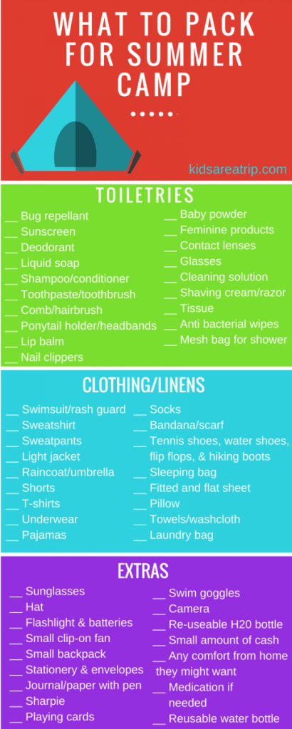 Summer Camp Packing Tips and a Printable Packing List