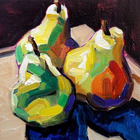 Three Pears, painting by artist Elizabeth Fraser