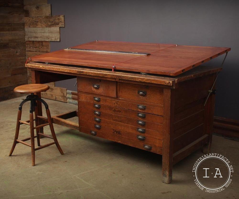 Vintage 6 Adjule Oak Drafting Table Flat File Art Craft Rustic Ebay