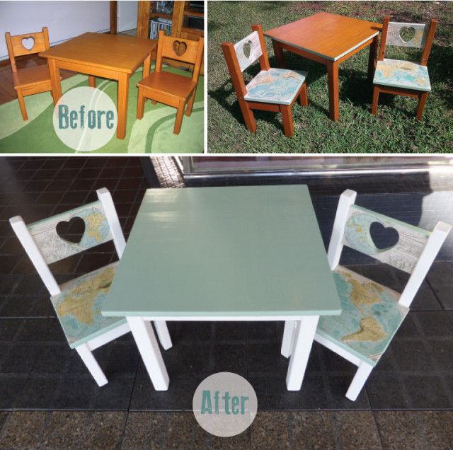 High Quality Love Heart Play Table And Chair Set Before And After. Refurbished Pine  Furniture Using Vintage