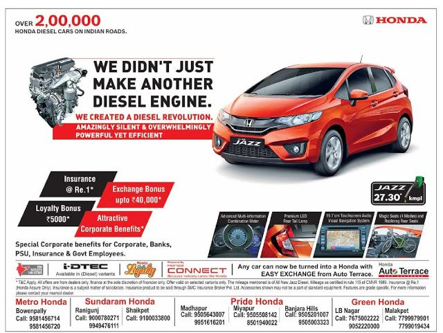 Honda Jazz Amazing Offer May 2016 Discount Offer Festival