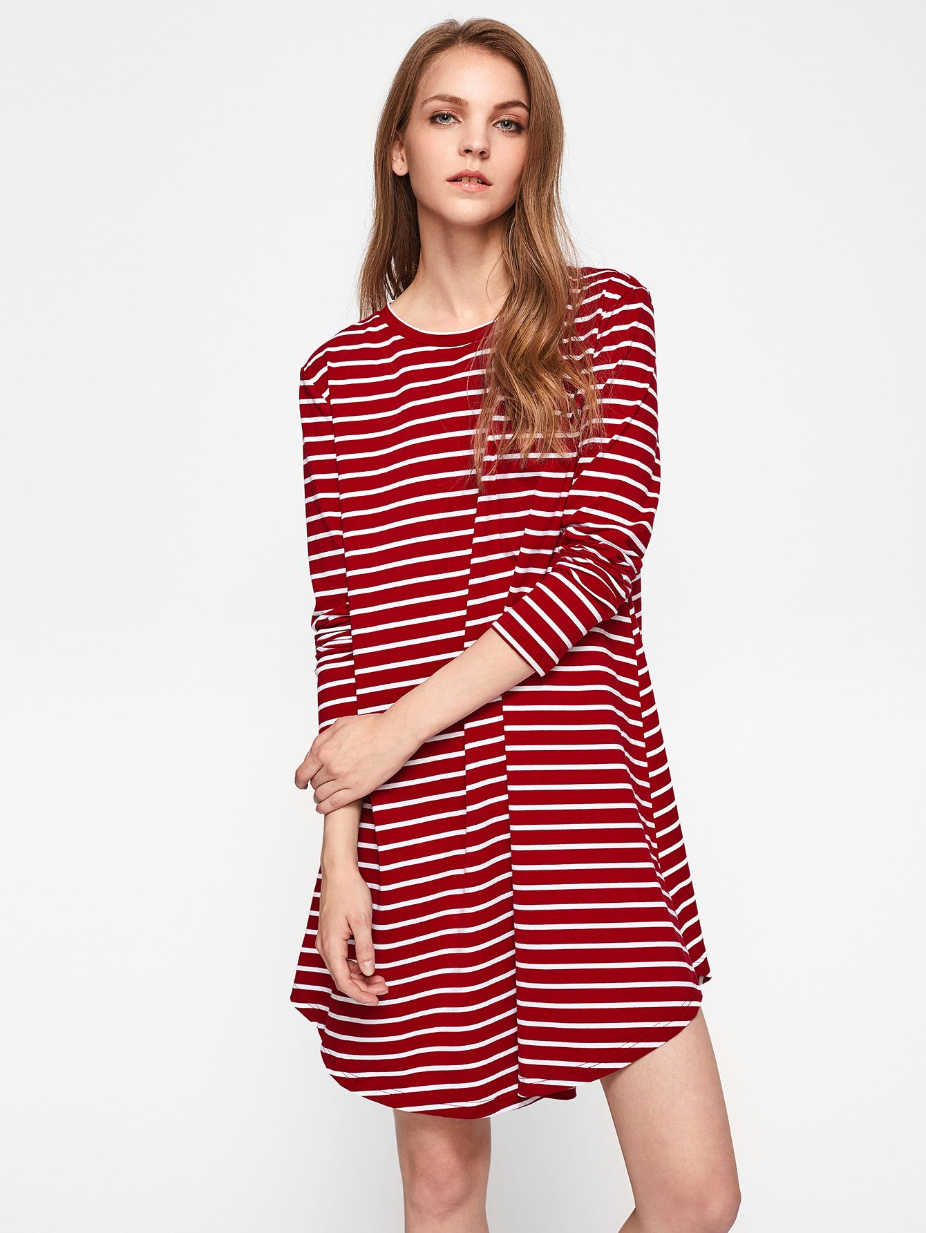 0d728931d7b3 Shop Curve Hem Striped Swing Tee Dress online. SheIn offers Curve Hem  Striped Swing Tee Dress   more to fit your fashionable needs.