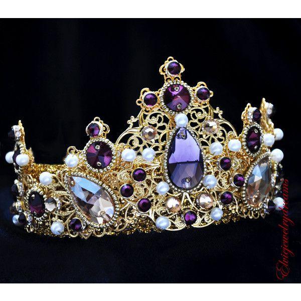 Purple Gold Tiara Wedding Crystal Crown Amethyst Swarovski 75