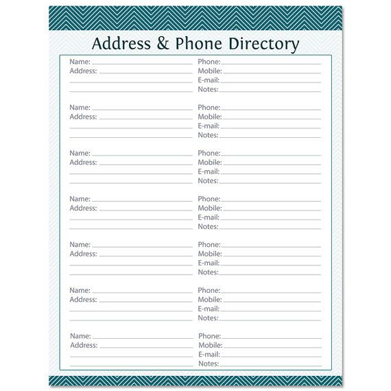 address phone directory fillable printable pdf instant