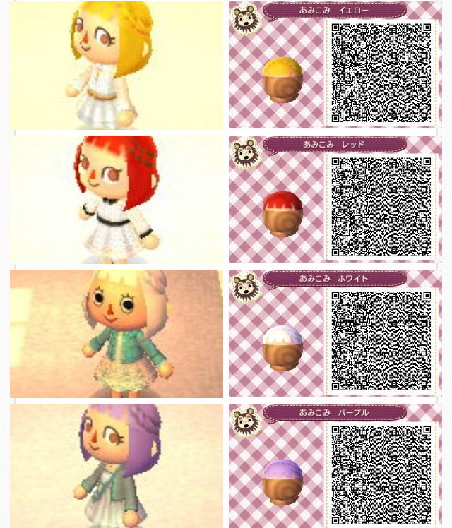 Hair braids Animal Crossing New Leaf QR Codes