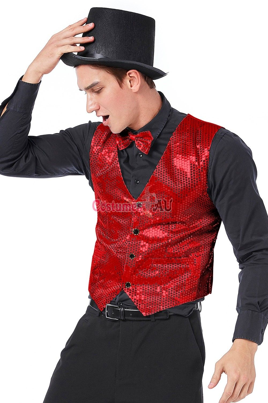 Unisex Boys Girls Sequins Vest Waistcoat Jazz Dance Party Show Clothes Costumes