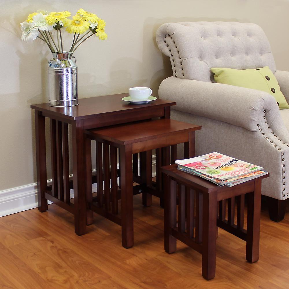 Donnieann hollydale chestnut 3piece nesting end table