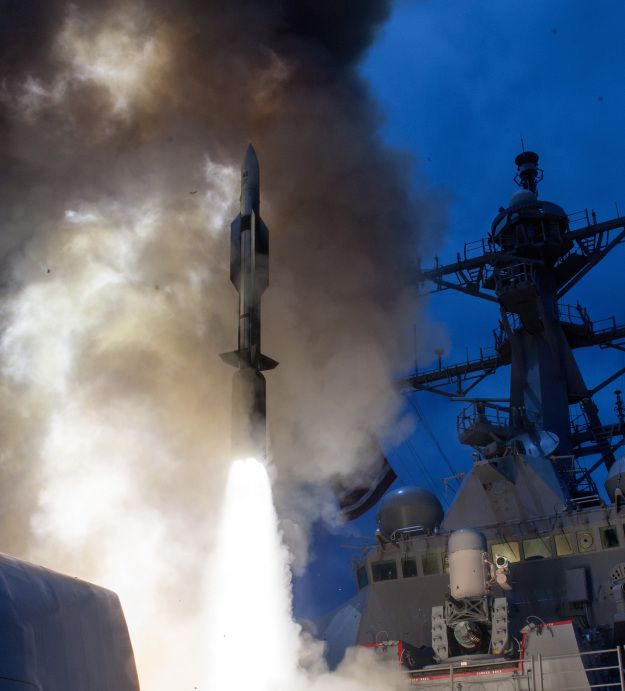USS John Paul Jones (DDG 53) launches a Standard Missile-6 (SM-6) during a live-fire test of the ship's aegis weapons system on June, 19 2014. US Navy Photo