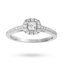 Princess cut 0.40 total carat weight diamond halo ring with diamond set shoulders in 18 carat white gold